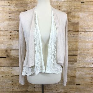 American Rag Knit and Lace Open Front Cardigan M